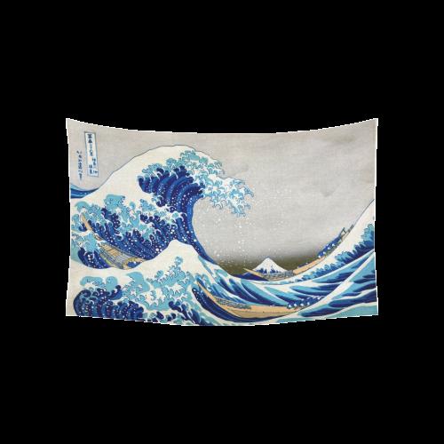 """Great Wave Off Kanagawa Hokusai Cotton Linen Wall Tapestry 60""""x 40"""""""