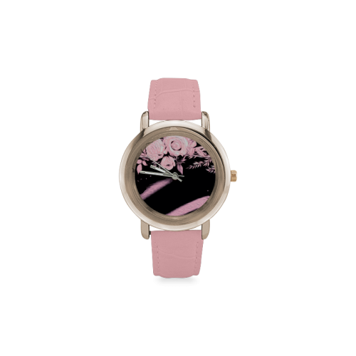 Pink Roses Women's Rose Gold Leather Strap Watch(Model 201)