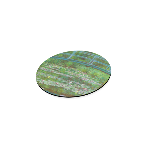 Monet Japanese Bridge Water Lily Pond Round Coaster