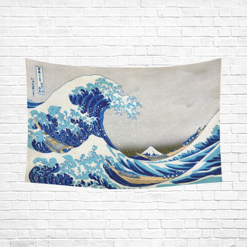 """Great Wave Off Kanagawa Hokusai Cotton Linen Wall Tapestry 90""""x 60"""""""
