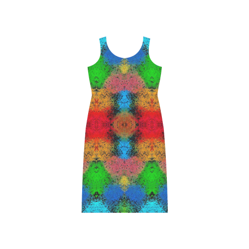 Colorful Goa Tapestry Painting Phaedra Sleeveless Open Fork Long Dress (Model D08)