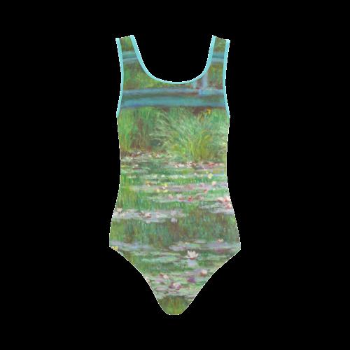 Monet Japanese Bridge Water Lily Pond Vest One Piece Swimsuit (Model S04)
