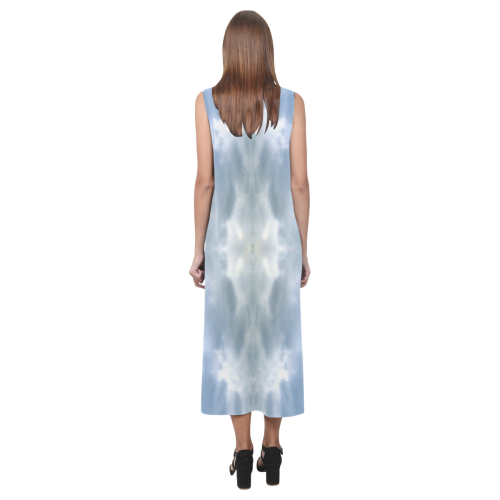Ice Crystals Abstract Pattern Phaedra Sleeveless Open Fork Long Dress (Model D08)