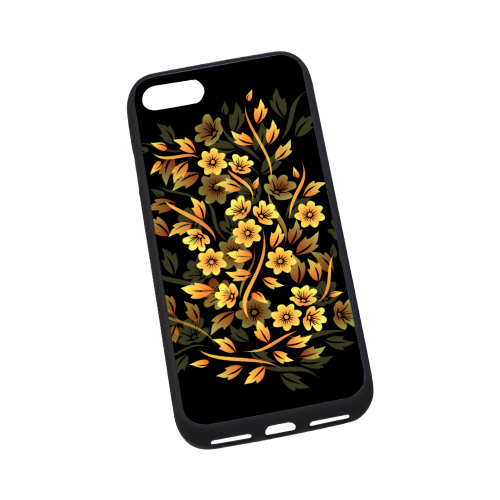 "Elegant Black And Gold Floral Rubber Case for iPhone 7 4.7"""