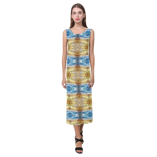 Gold and Blue Elegant Pattern Phaedra Sleeveless Open Fork Long Dress (Model D08)