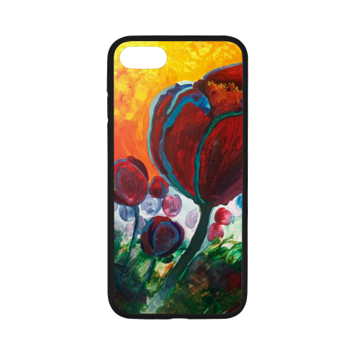 """Blue High Tulips on Fire Rubber Case for iPhone 7 4.7"""""""