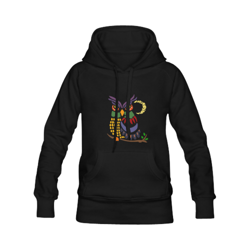 Cool Artistic owl and Moon Abstract Art Women's Classic Hoodies (Model H07)