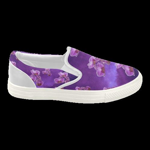 purple orchids s slip on canvas shoes model 019