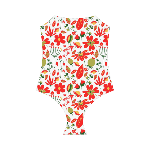 Cute Red Flowers Leaves Nature Strap Swimsuit ( Model S05)