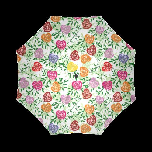 Colorful Rose Hears Foldable Umbrella