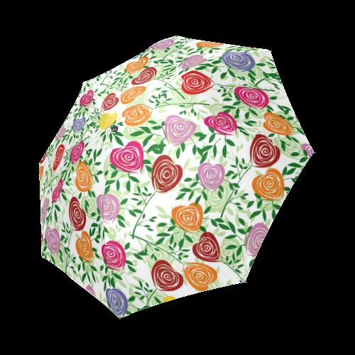Colorful Rose Hears Foldable Umbrella (Model U01)