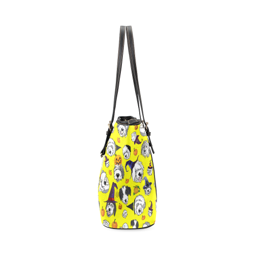 Halloween Dogs yellow Leather Tote Bag/Large (Model 1640)