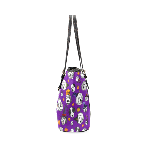 Halloween Dogs Purple Leather Tote Bag/Large (Model 1640)