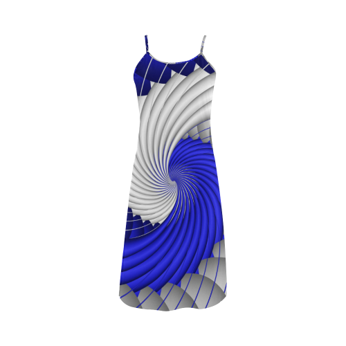 7e4006e0a058e Blue Silver Beautiful Abstract Wave Alcestis Slip Dress (Model D05) | ID:  D662140