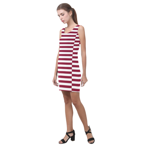 Stripes in Burgundy Medea Vest Dress (Model D06)