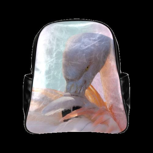 Flamingo Pink Mint Multi-Pockets Backpack (Model 1636)