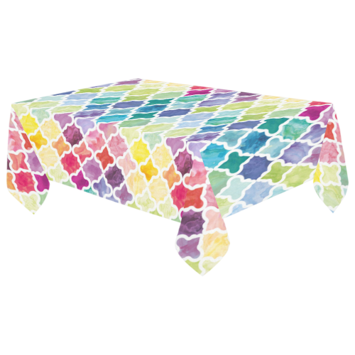 "watercolor pattern Cotton Linen Tablecloth 60""x 104"""