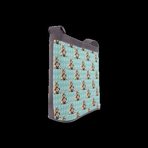 Pugs on Aqua Argyle Crossbody Bags (Model 1613)