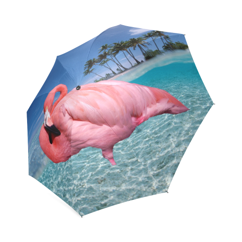 Flamingo and Palms Foldable Umbrella