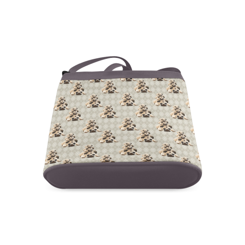 Pugs on Tan Argyle Crossbody Bags (Model 1613)