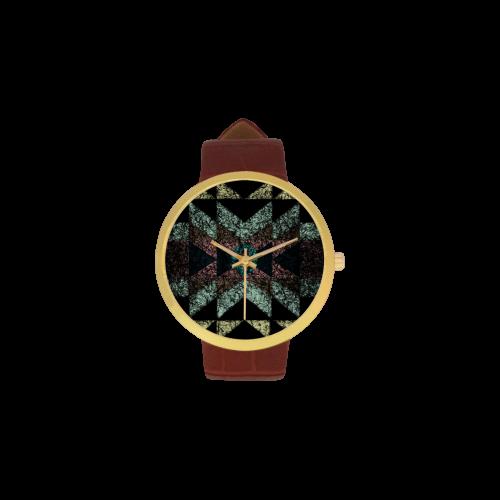 Outworn Tribal Aztec Pattern Women's Golden Leather Strap Watch(Model 212)