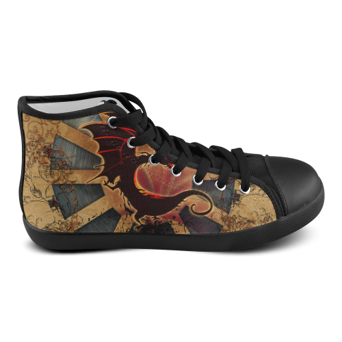 Funny cartoon dragon with floral elements Men's High Top Canvas Shoes (Model 002)