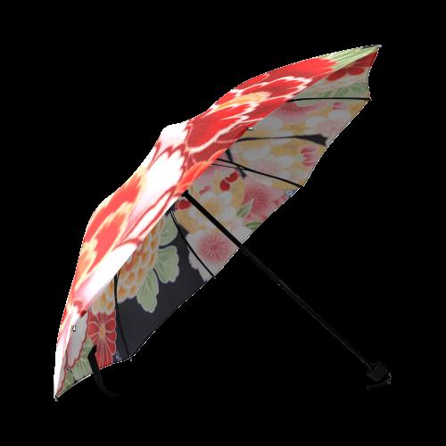 Beautiful Floral Japanese Kimono Pattern Foldable Umbrella (Model U01)