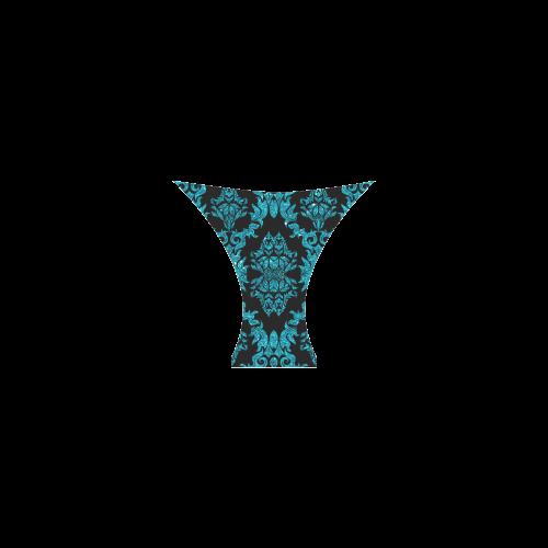 Turquoise Gliitter Black Damask Custom Bikini Swimsuit