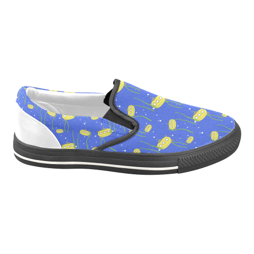 Yellow small submarine - cartoon and yellow Men's Unusual Slip-on Canvas  Shoes (Model 019)