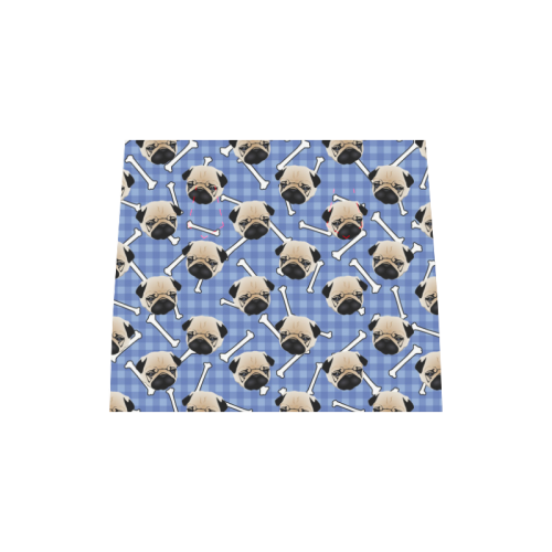 Cute Pugs and Bones on Blue Plaid Boston Handbag (Model 1621)