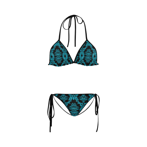 Turquoise Gliitter Black Damask Custom Bikini Swimsuit