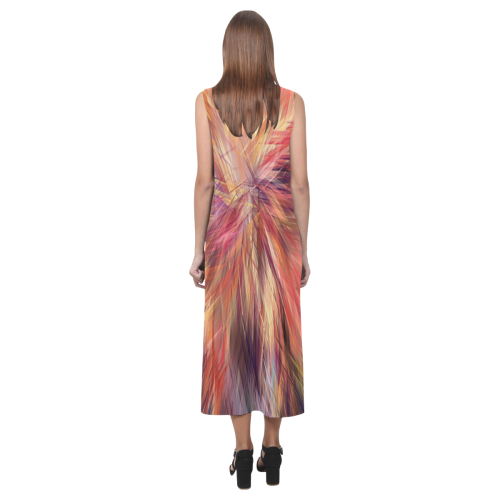 Red And Orange Colorburst Phaedra Sleeveless Open Fork Long Dress (Model D08)