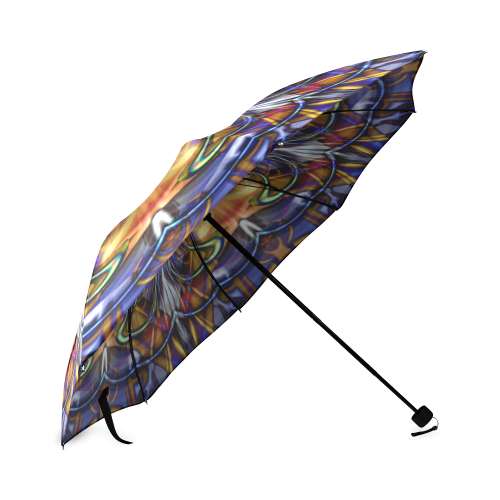 Stained Glass Collage Gold Border Foldable Umbrella