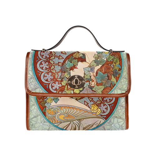 Alphonse Mucha Ivy Waterproof Canvas Bag/All Over Print (Model 1641)