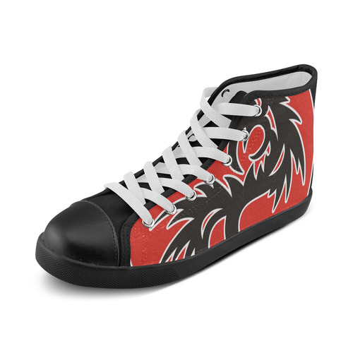 Sun Dragon with Pearl - black Red White Men's High Top Canvas Shoes (Model 002)