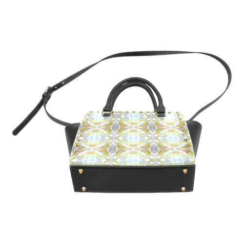 White Yellow  Pattern Rivet Shoulder Handbag (Model 1645)