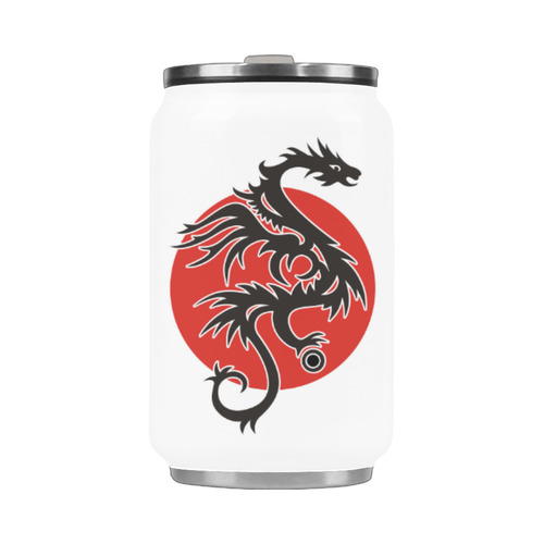 Sun Dragon with Pearl - black Red White Stainless Steel Vacuum Mug (10.3OZ)
