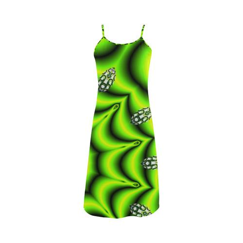 Spring Lime Green Garden Mandala, Abstract Spirals Alcestis Slip Dress (Model D05)