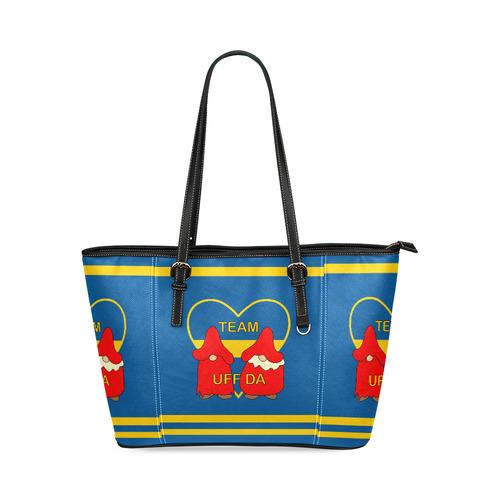 Team Uff Da Swedish Uff Da Gnomes Tomte Nisser Leather Tote Bag/Large (Model 1640)