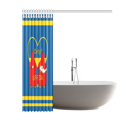 "Dirty striped Swedish Uff Da Gnomes Tomte Nisser Shower Curtain 60""x72"""