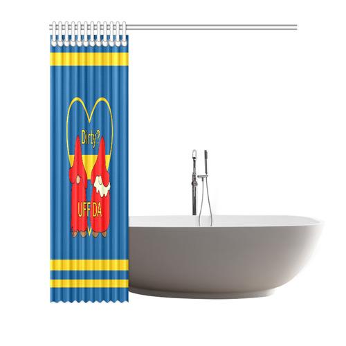 "Dirty striped Swedish Uff Da Gnomes Tomte Nisser Shower Curtain 66""x72"""