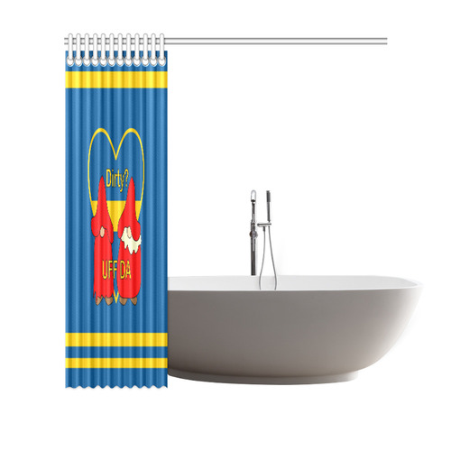 "Dirty striped Swedish Uff Da Gnomes Tomte Nisser Shower Curtain 69""x70"""