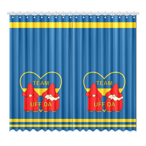 "Team Uff Da Swedish Uff Da Gnomes Tomte Nisser Window Curtain 52""x96""(Two Piece)"