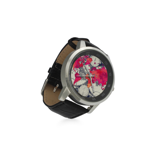 world map 28 Unisex Stainless Steel Leather Strap Watch(Model 202)
