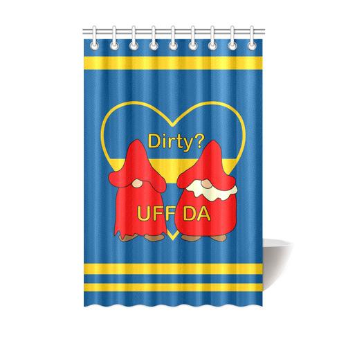 "Dirty striped Swedish Uff Da Gnomes Tomte Nisser Shower Curtain 48""x72"""