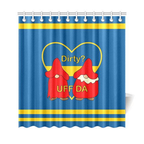 "Dirty striped Swedish Uff Da Gnomes Tomte Nisser Shower Curtain 69""x72"""