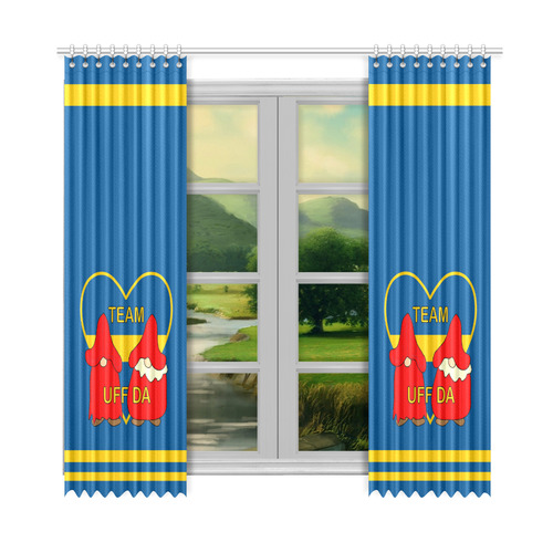 "Team Uff Da Swedish Uff Da Gnomes Tomte Nisser Window Curtain 52""x108""(Two Piece)"