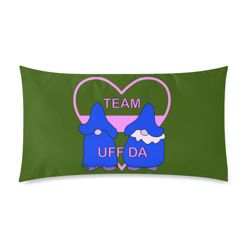 "Team Uff Da Gnomes Tomte Nisser Green Pink Blue Rectangle Pillow Case 20""x36""(Twin Sides)"
