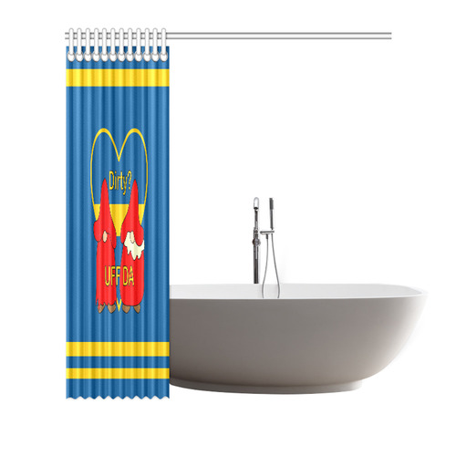 "Dirty striped Swedish Uff Da Gnomes Tomte Nisser Shower Curtain 72""x72"""