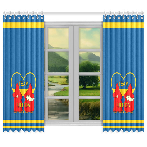 "Team Uff Da Swedish Uff Da Gnomes Tomte Nisser Window Curtain 50""x84""(Two Piece)"